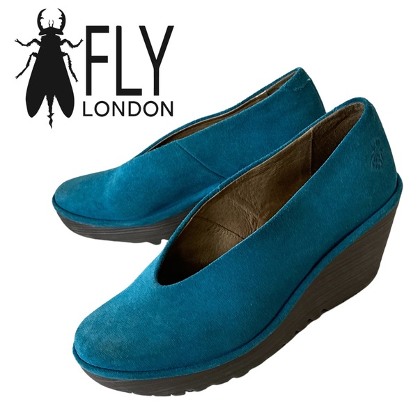 Fly London, Yaz Slip-On Suede Wedge Shoes, Teal